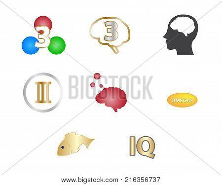 omega 3 icon and logo , vector . omega 3 and vitamin