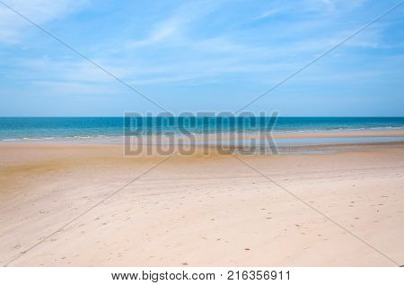 Beautiful blue sea and white sand beach in Hua Hin, Thailand