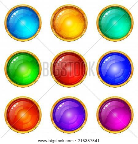 Set of Colorful Glass Round Buttons with Golden Frames, Computer Icons for Web Design, Isolated on White Background. Vector