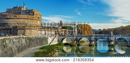 The Mausoleum of Hadrian Castel Sant Angelo and Tiber river scenic day view in Rome capital of Italy Europe