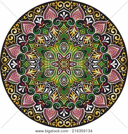 Drawing of a floral mandala with gold green black and red colors on a white background. Hand drawn tribal vector stock illustration