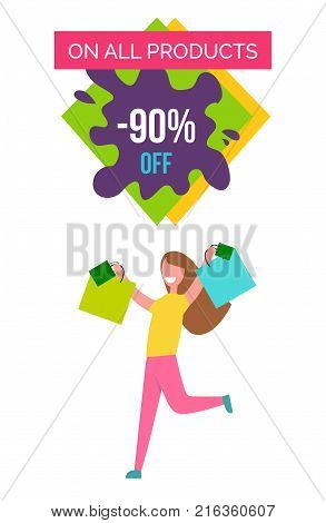 Only all products -90 off, image of happy and excited woman with raised hands and bags in her hands vector illustration isolated on white