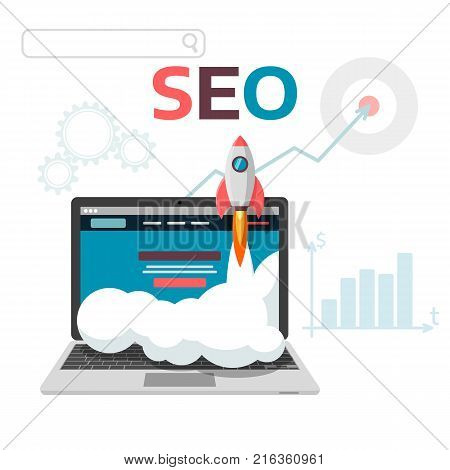 Graphic concept SEO optimization. Flat vector illustration web analytics design. Launch landing page site and promotion