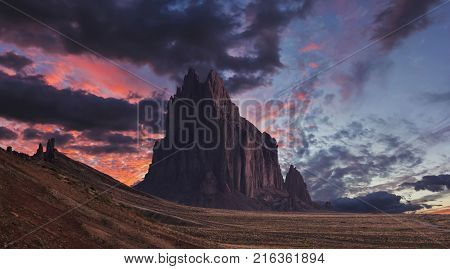 A Shiprock Landscape Against a Breathtaking Twilight Sky New Mexico on the Navajo Reservation west of the town of Shiprock.