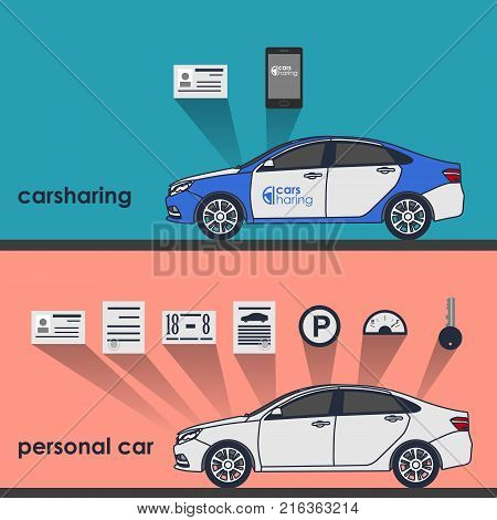 Carsharing vector illustration. Car to share. Transport renting service.