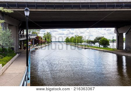 Picture of the walkway of Saint Anne De Bellevue, Montreal Quebec during the floods April 2017.