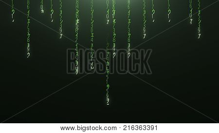 Green falling abstract internet red matrix code