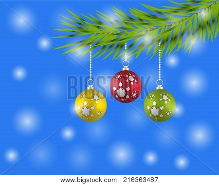 Christmas tree with colorful balls on a blue background.