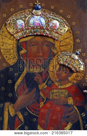 LEPOGLAVA, CROATIA - AUGUST 08: Our Lady of Czestochowa altarpiece in the church of Immaculate Conception in Lepoglava, Croatia on August 08, 2017.