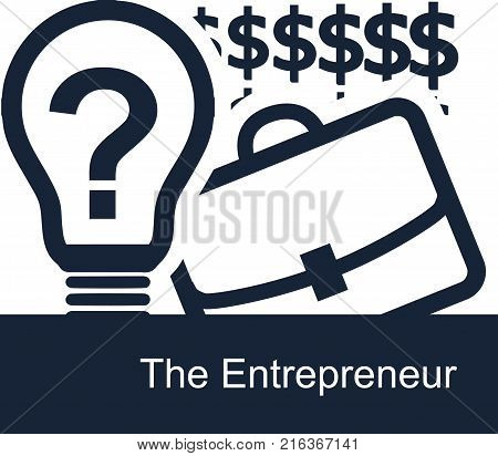Vector concept of the entrepreneur on white background. A light bulb is a symbol of clear good ideas a office case is a symbol of doing business and dollars on the backdrop as motivation
