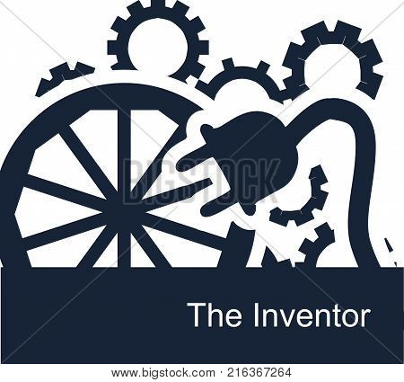 Abstract vector symbolic illustration on a white background for a backdrop or web icons for an inventor. Gears spin the wheel turns and talented people invent electricity and other useful things