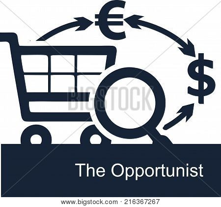 Vector illustration on white background of the concept of the activities of opportunists in business. Opportunistic entrepreneur is looking for ways to quickly earn big money in different currencies