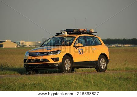Amsterdam the Netherlands June 1st 2017: Bird control car at Amsterdam Airport Schiphol
