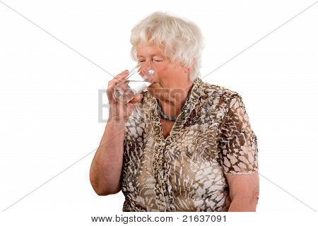 Senior Lady With A Glass Of Water