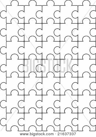 Puzzle black and white pattern vector template design.