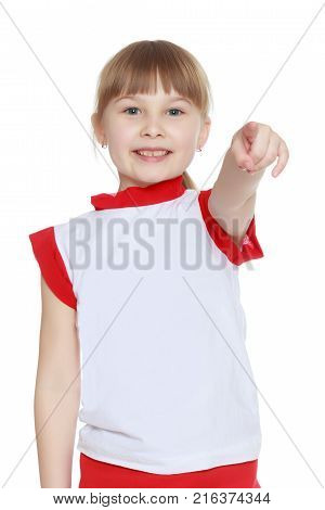 Little girl pointing at something. The concept of family happiness and the development of the child. Isolated over white background