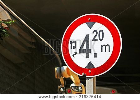 Red and white high limit road sign (4.2 m) in Israel