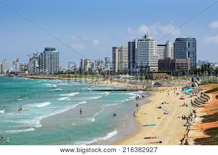 TEL AVIV, ISRAEL - August 24, 2016: view from old Yafo to the waterfront with modern luxury hotels and beach on august 24, 2016 Tel Aviv-Yafo, Israel