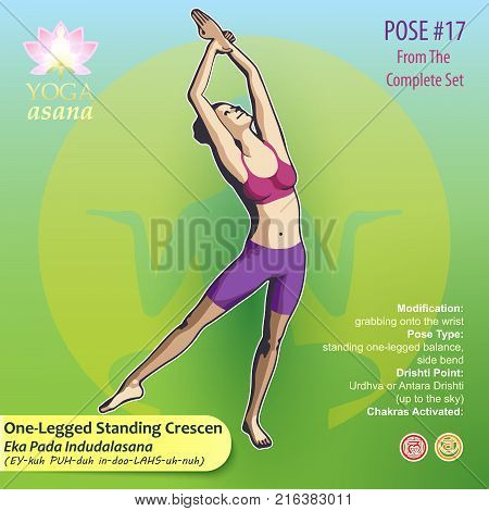 Iillustration of Yoga Exercises with full text description names and symbols of the involved chakras. Female figure showing the position of the body posture or asana in sitting position.