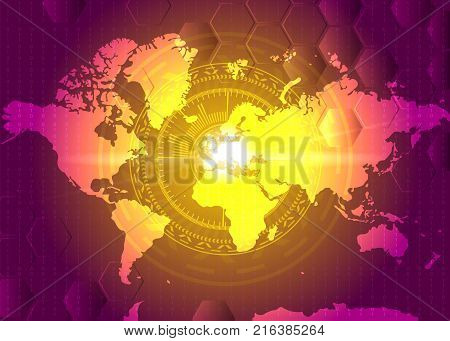 HUD atack design with world geographical map. Target on Europe. World war Russia Europe conflict. Vector
