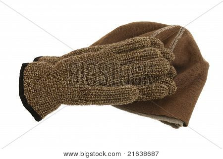 Brown Woolen Cap And Pair Of Gloves