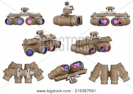 Night military goggles optical devise set. 3D rendering