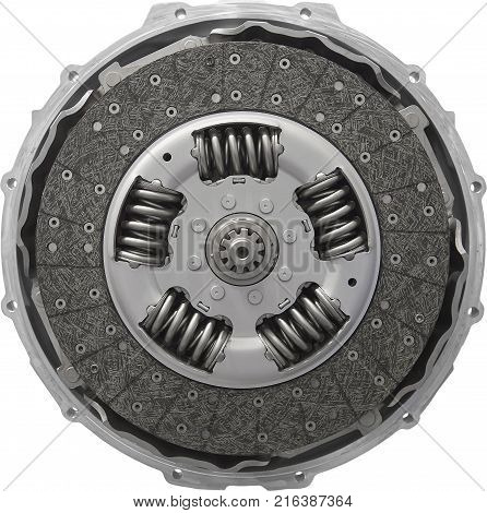 Isolated on white car truck clutch. Front view of new composite clutch disc inside open housing for trucks and tractors. New friction pads. Clutch repair kit. Car maintenance parts. Clutch design. Round automotive background pattern