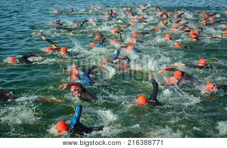 GRAFHAM, CAMBRIDGESHIRE, ENGLAND - AUGUST 06, 2017:  Competitors in the water starting the swimming stage of triathlon,