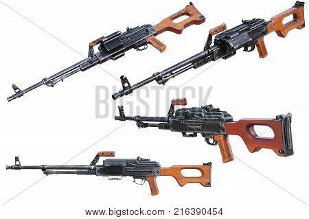 Gun automatic machine army equipment set. 3D rendering