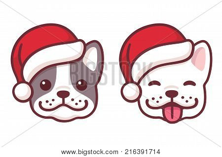 French Bulldog puppy faces in Santa hats. Cute cartoon dogs smiling and sticking out tongue. Christmas vector illustration.