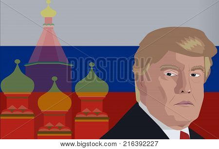 Dec, 2017: Donald Trump portrait on a Russian flag background. Vector illustration of the President of United States Donald Trump and Russian flag and church as a background.
