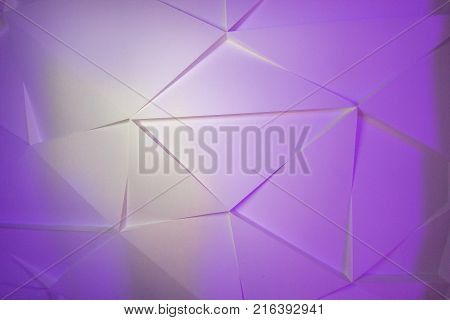 Texture of glass fragments. Gradient of white and violet colors. Mosaic of triangular glass fragments.