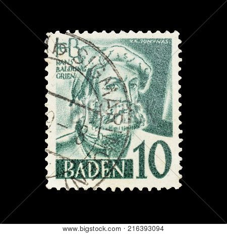 GERMANY - CIRCA 1948 : Postage stamp printed by Germany, that shows portrait of  Hans Baldung.