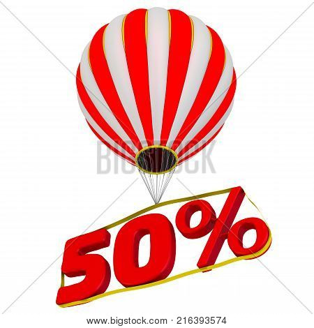 Fifty percentage flies in a hot air balloon. Isolated. 3D Illustration