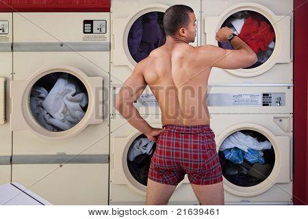 Half-naked Man In Laundromat