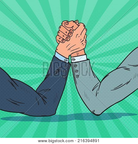 Pop Art Businessman Hands Armwrestling. Business Rivalry. Confrontation at Work. Vector illustration
