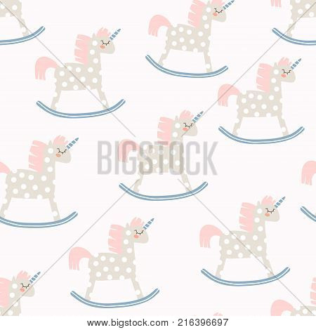 Childish seamless pattern with cute horse toy. Great for fabric textile Vector Illustration