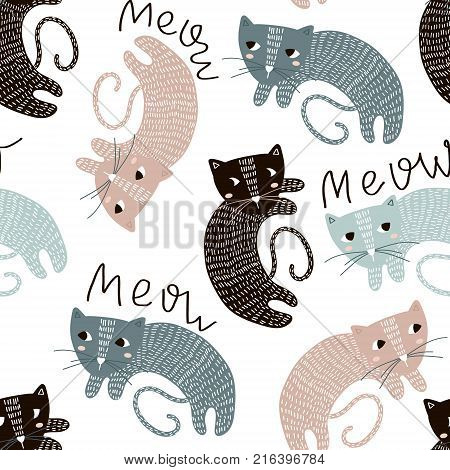 Childish seamless pattern with cute artistic cats. Trendy scandinavian vector background. Perfect for kids apparelfabric textile nursery decorationwrapping paper