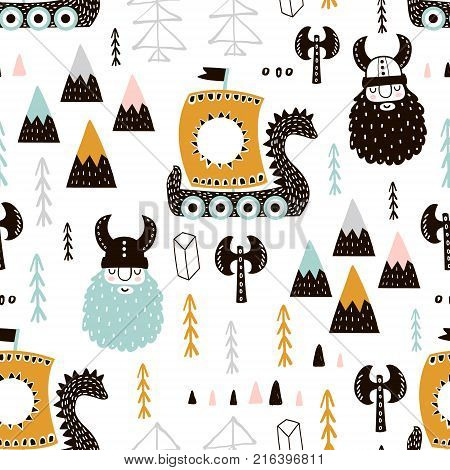 Childish seamless pattern with vikings. Trendy scandinavian vector background. Perfect for kids apparelfabric textile nursery decorationwrapping paper
