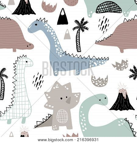 Childish seamless pattern with hand drawn dino in scandinavian style. Creative vector childish background for fabric textile