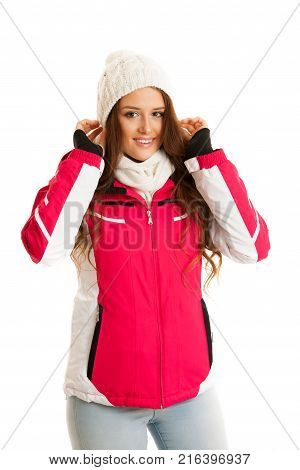 Woman In Pink Winter Jacket Isolated Over White Background