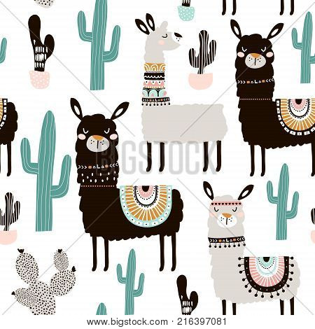 Seamless pattern with llama cactus and hand drawn elements. Creative childish texture. Great for fabric textile Vector Illustration