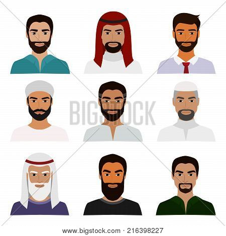 Vector illustration set of muslim avatars, vector arab man icon, saudi characters, arabic businessman in national clothes portraits in flat style