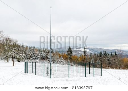 A meteorological station at the top of Beaujolais hills in winter France