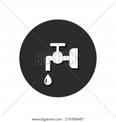 Crane water icon Vector. Flat simple symbol in round. Communal payment symbol.