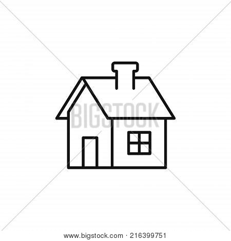 House line icon home outline symbol Vector isolated flat illustration. Side view. Real estate rent house.
