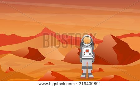 Vector illustration astronaut in a spacesuit on Mars or another planet with prcky desert landscape