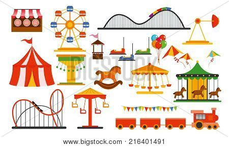 Vector illustration amusement park elements on white background. Family rest in rides park with colorful ferris wheel, carousel, circus in flat style