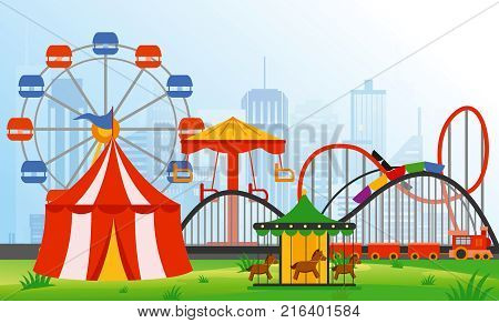 Vector illustration amusement park elements on modern city background. Family rest in rides park with colorful ferris wheel, carousel, circus in flat style