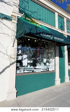 PETOSKEY, MICHIGAN / UNITED STATES - OCTOBER 18, 2017: The County Emmet Celtic Shop is a boutique that specializes in Irish and Irish-themed products, in downtown Petoskey.